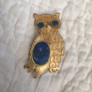 Vintage lapis owl brooches